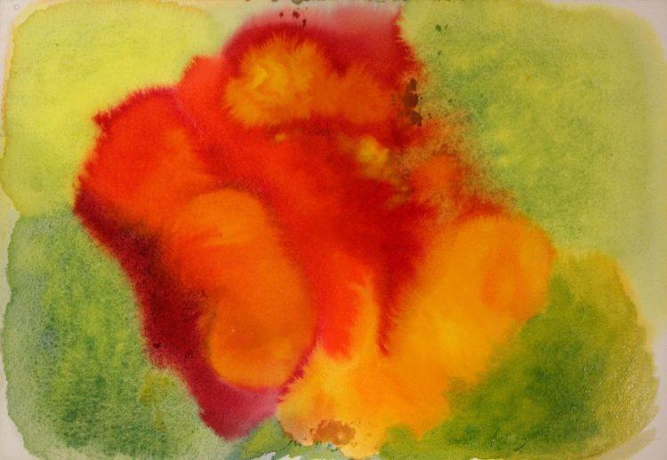 Kuvassa vihreä veriväri reunustaa oranssia läiskää